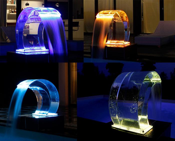 Cascata luxury led in vetro acrilico e led multicolor con ...