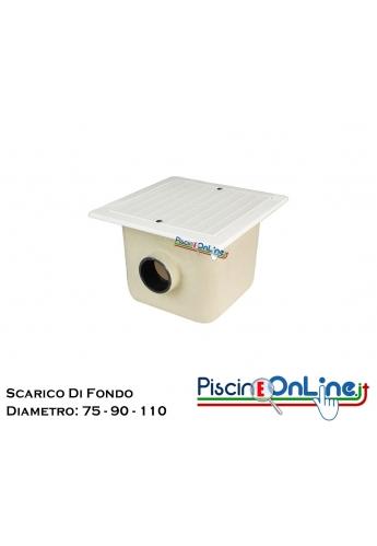 SCARICO DI FONDO IN VTR CON GRIGLIA IN ABS PER C.A / LINER DA 0.90 A 110 DI DIAMETRO