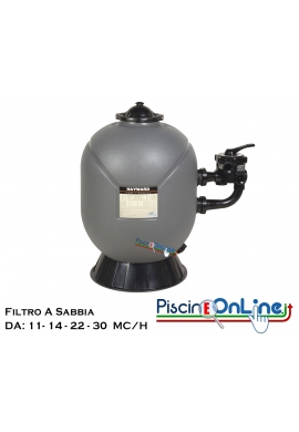 Filtro a sabbia PRO SERIES SIDE HAYWARD disponibile da 11, 14, 22, 30 m3/h