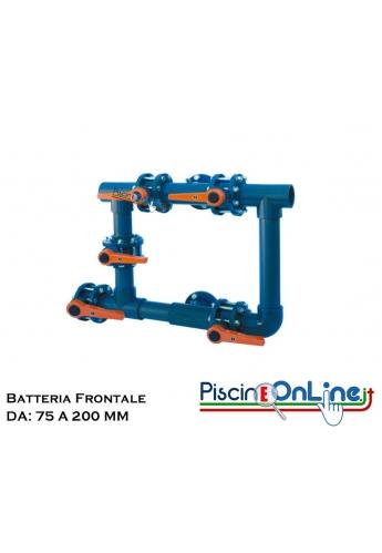 BATTERIA FRONTALE A 5 VALVOLE IN PVC CON COLLEGAMENTO POMPA E VALVOLE A FARFALLA DA 75 A 200 MM DIAMETRO