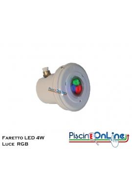 FARETTO LED 4 WATT IN ABS CON LAMPADA RGB PER RIVESTIMENTO C.A./PVC LINER