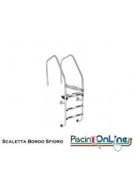 SCALETTA BORDO SFIORO MODELLO LUX IN ACCIAIO INOX AISI 316 CON GRADINO ANTISCIVOLO 3/4/5 GRADINI