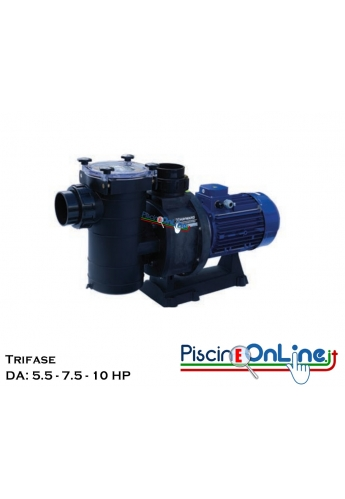 POMPA HCP 4200 CENTRIFUGA AUTOADESCANTE REALIZZATA IN TERMOPLASTICA RINFORZATA DA: 5.5 A 10 HP - TRIFASE