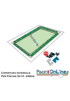 COPERTURA INVERNALE DA 240 GR CON TUBOLARI INCLUSI PER PISCINE 5mt x 10mt - DIMENSIONI COPERTURA REALI: 6.50mt x 11.5mt