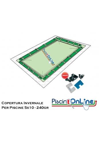 Copertura invernale da 240gr con tubolari inclusi per piscine 5mt x 10mt - Dimensioni Copertura  reali 6.50mt x 11.5mt