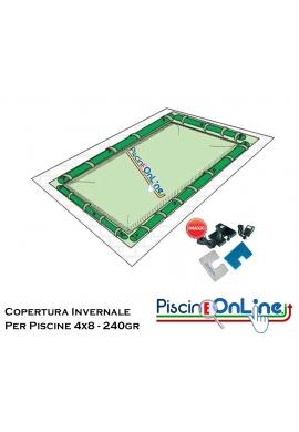COPERTURA INVERNALE DA 240 GR CON TUBOLARI INCLUSIPER PISCINE 4 X 8 MT - DIMENSIONI COPERTURA REALI 5.50mt x 9.5mt