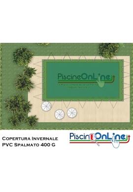 COPERTURA INVERNALE IN PVC SPALMATO 400 GR - PER PISCINA RETTANGOLARE - CON OCCHIELLI E CORDA ELASTICA INCLUSA