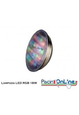 LAMPADA LED RGB DA 18 W 012 V PAR 56 PER FARI DA 300 W