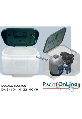 Locale tecnico preassemblato - portata da 6 mc/h a 22 mc/h - per piscine private