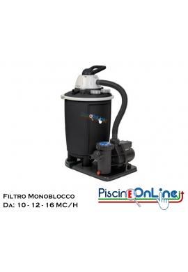 FILTRO A SABBIA MONOBLOCCO DA 10/12/16 MC/H CON CAPIENZA DI 50 LT E POMPA CON POTENZA DA 1 - 1.50 - 2 HP. COLORE NERO.
