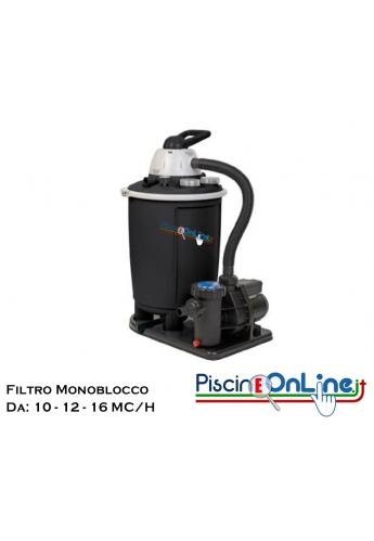 Filtro a sabbia monoblocco da 10-12-16 m³/h con capienza di 50 lt e pompa con potenza 1-1.5-2 HP. Colore: nero.