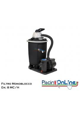 FILTRO A SABBIA MONOBLOCCO DA 8 MC/H CON CAPIENZA 50 LT E POMPA CON POTENZA DA 0.75 HP. COLORE NERO.