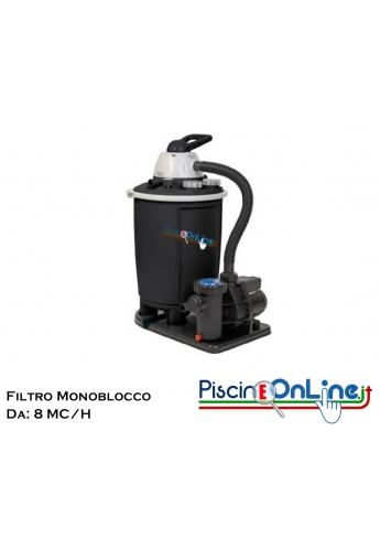 Filtro a sabbia monoblocco da 8 m³/h con capienza di 25 lt e pompa con potenza 0,5 HP. Colore: nero.