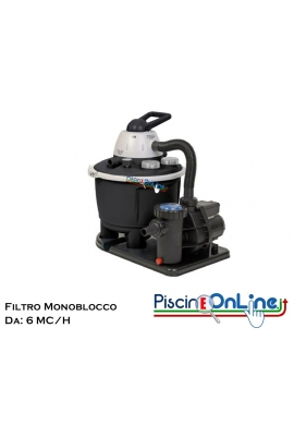 FILTRO A SABBIA MONOBLOCCO DA 6 MC/H CON CAPIENZA DI 25 LT E POMPA CON POTENZA DA 0.5 HP. COLORE NERO