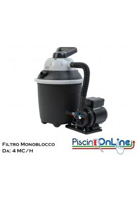 FILTRO A SABBIA MONOBLOCCO DA 4 MC/H. COLORE NERO.