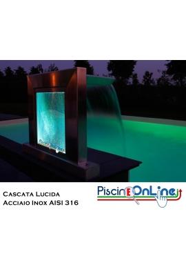 CASCATA GRECIA IN ACCIAIO AISI 316 CON VETRO ACRILICO E LED MULTICOLOR