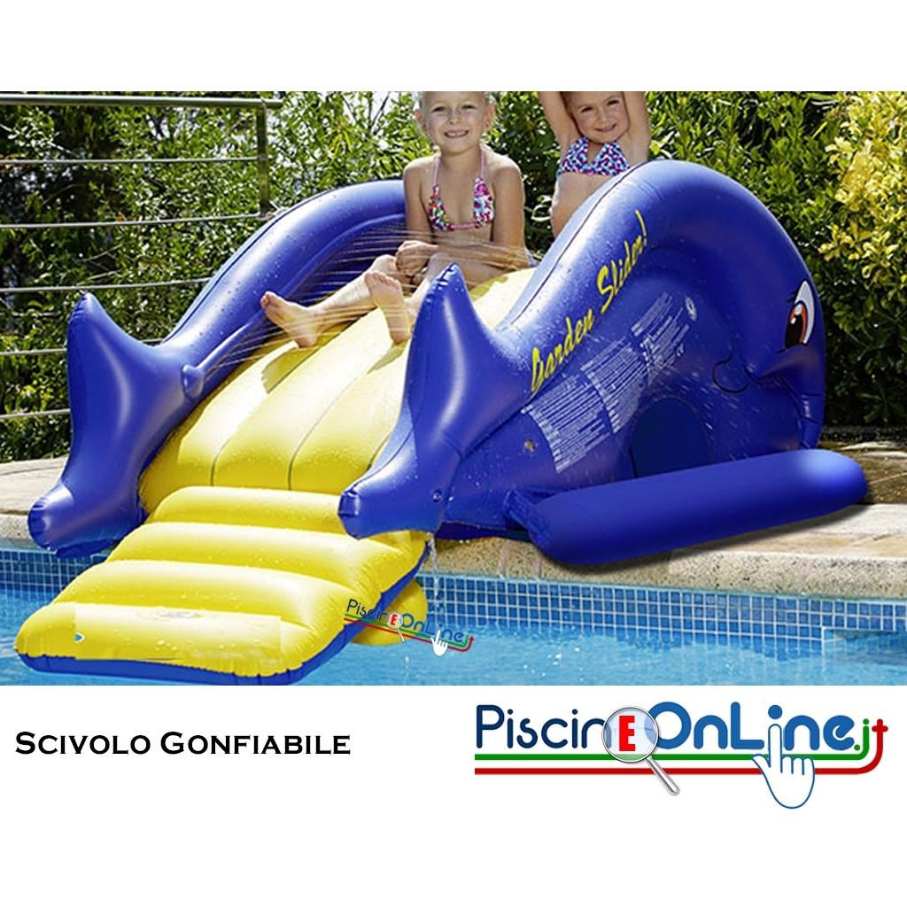 Scivolo per piscina gonfiabile con effetto pioggia - Scivolo gonfiabile per piscina ...
