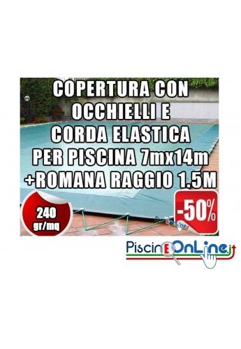Copertura invernale da 240 gr Con Occhielli e Corda 7mt x 14mt+Romana Raggio 1.5mt -Dim. Cop. reali 8.5 mt x 17mt