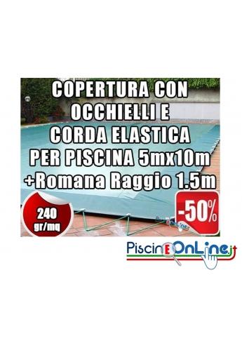 Copertura invernale da 240 gr Con Occhielli e Corda 5mt x 10mt + Romana Raggio 1.5mt - Dim. Cop. reali 6.5 mt x 13mt