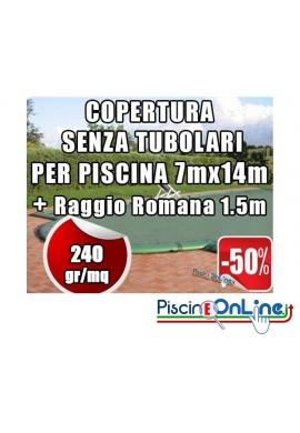 COPERTURA INVERNALE DA 240 GR SENZA TUBOLARI PER PISCINA 7mt x 14mt + RAGGIO ROMANA 1.5mt - Dim. Cop. REALI 8.50mt x 17mt