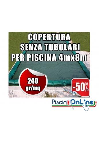 Copertura invernale da 240gr Senza tubolari inclusi per piscine 4mt x 8mt - Dimensioni Copertura reali 5.50mt x 9.5mt