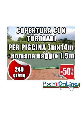 COPERTURA INVERNALE DA 240 GR CON TUBOLARI INCLUSI PER PISCINA 7mt x 14mt + ROMANA RAGGIO 1.5 - Dim. REALI 8.5mt x 17mt
