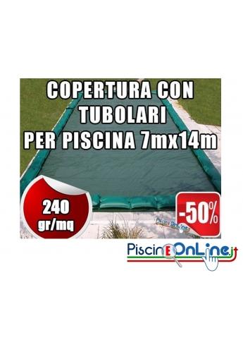 Copertura invernale da 240gr con tubolari inclusi per piscine 7mt x 14mt - Dim. Copertura 8.5mtx15.5mt