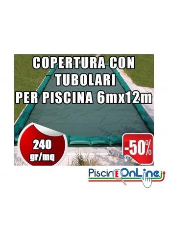 Copertura invernale da 240gr con tubolari inclusi per piscine 6mt x 12mt - Dim. Copertura 7.5mtx13.5mt