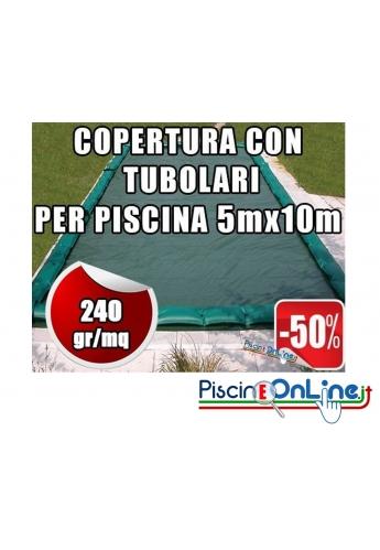 Copertura invernale da 240gr con tubolari inclusi per piscine 5mt x 10mt - Dim. Copertura 6.5mtx11.5mt