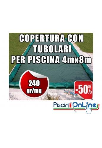 Copertura invernale da 240gr con tubolari inclusi per piscine 4mt x 8mt - Dimensioni Copertura reali 5.50mt x 9.5mt