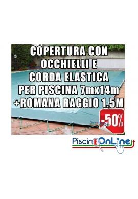 COPERTURA INVERNALE DA 220/210 GR CON OCCHIELLI E CORDA  7mt x 14mt  + ROMANA RAGGIO 1.5mt -Dim. Cop. REALI 8.5 mt x 17mt