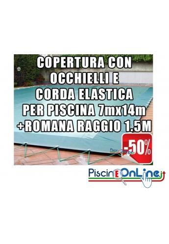 Copertura invernale da 210 gr Con Occhielli e Corda 7mt x 14mt+Romana Raggio 1.5mt -Dim. Cop. reali 8.5 mt x 17mt