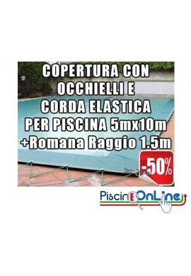 COPERTURA INVERNALE DA 220/210 GR CON OCCHIELLI E CORDA 5mt x 10mt + ROMANA RAGGIO 1.5mt - Dim. Cop. REALI 6.5 mt x 13mt
