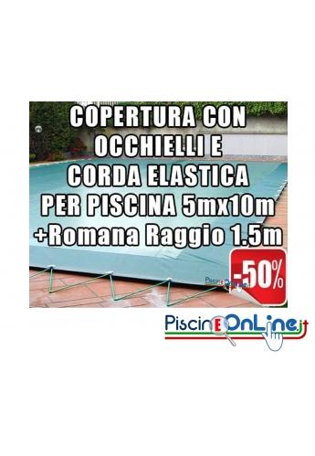 Copertura invernale da 210 gr Con Occhielli e Corda 5mt x 10mt + Romana Raggio 1.5mt - Dim. Cop. reali 6.5 mt x 13mt