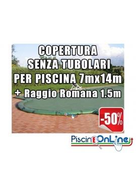 COPERTURA INVERNALE DA 220/210 GR SENZA TUBOLARI PER PISCINE 7mt x 14mt + RAGGIO ROMANA 1.5mt - Dim. Cop. REALI 8.50mt x 17mt