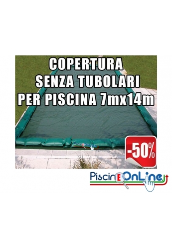 Copertura invernale da 210 gr Senza tubolari per piscine 7mt x 14mt - Dim. Cop. reali 8.50mt x 15.5mt