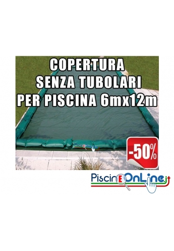 Copertura invernale da 210 gr Senza tubolari per piscine 6mt x 12mt - Dim. Cop. reali 7.50mt x 13.5mt