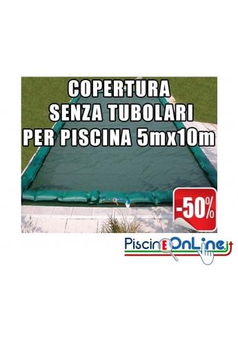 Copertura invernale da 210 gr Senza tubolari inclusi per piscine 5mt x 10mt - Dim. Cop. reali 6.50mt x 11.5mt