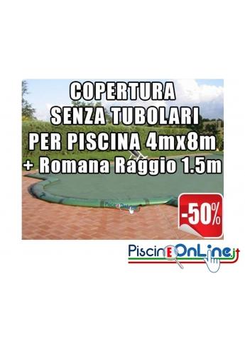 Copertura invernale da 210gr Senza tubolari inclusi per piscine 4mt x 8mt + Romana Raggio 1.5m - Dim. Cop reali 5.50mt x 11mt