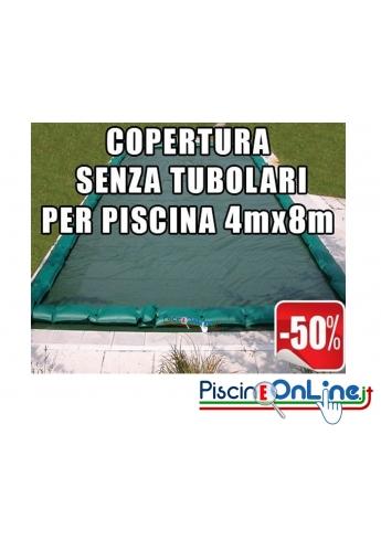 Copertura invernale da 210gr Senza tubolari inclusi per piscine 4mt x 8mt - Dimensioni Copertura reali 5.50mt x 9.5mt