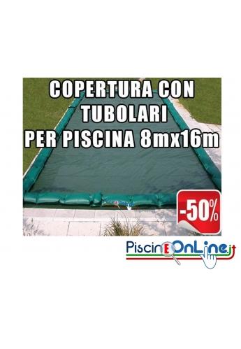 Copertura invernale da 210gr con tubolari inclusi per piscine 8mt x 16mt - Dim. Copertura 9.5mt x 17.5 mt