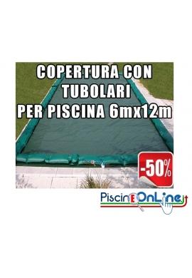 COPERTURA INVERNALE DA 220/210 GR CON TUBOLARI INCLUSI PER PISCINE 6mt x 12mt - Dim. COPERTURA 7.5mtx13.5mt