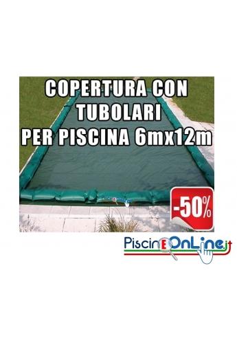 Copertura invernale da 210gr con tubolari inclusi per piscine 6mt x 12mt - Dim. Copertura 7.5mtx13.5mt