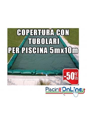 Copertura invernale da 210gr con tubolari inclusi per piscine 5mt x 10mt - Dim. Copertura 6.5mtx11.5mt
