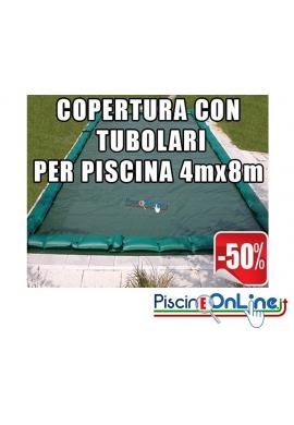 COPERTURA INVERNALE DA 220/210 GR CON TUBOLARI INCLUSI PER PISCINE 4mt x 8mt - DIMENSIONI COPERTURA REALI 5.50mt x 9.5mt