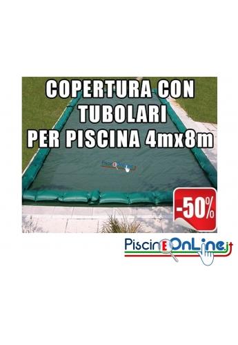 Copertura invernale da 210gr con tubolari inclusi per piscine 4mt x 8mt - Dimensioni Copertura reali 5.50mt x 9.5mt