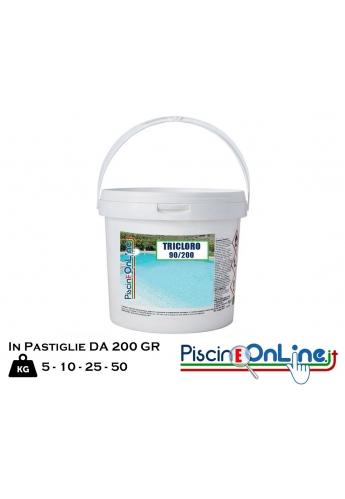 TRICLORO 90/200 IN PASTIGLIE DA 200gr 5/10/25/50 kg - OFFERTE PRODOTTI CHIMICI PER PULIZIA PISCINA ONLINE