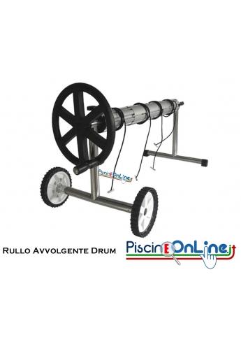 Rullo avvolgitore DRUM con tubo alluminio Ø 110 mt. 7 - 8 con supporti laterali, ruote e manovella