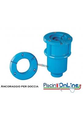 Ancoraggio in PVC per Doccia Inox AISI 304 versione doppia con due rubinetti acqua fredda diametro 63 mm