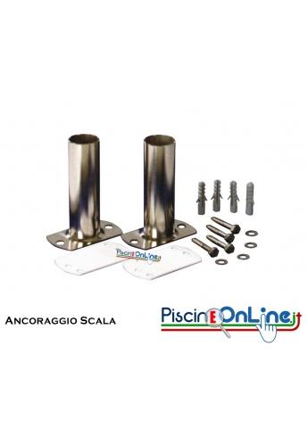 Coppia ancoraggio scala completo inox AISI 304 per scala diametro 43 mm.